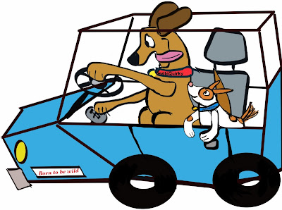 Dogs joy riding in car cartoon