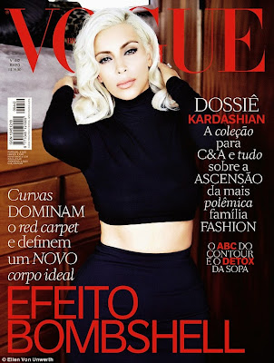 Kim Kardashian covers Vogue Brasil as a gorgeous blonde.