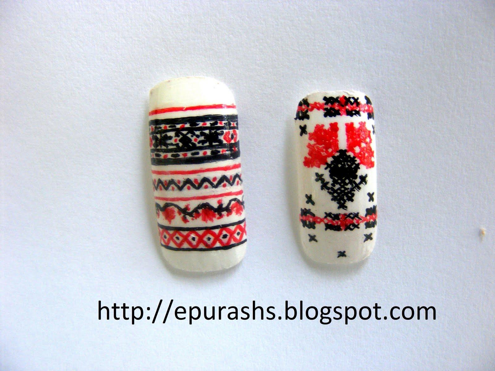 Epurash Handmade Romanian Traditional Patterns On Nails Motive