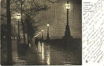 A Wet Night on the Thames Embankment - card posted 1903