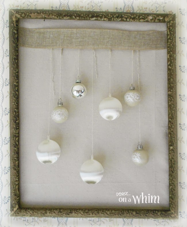 White Vintage Ornaments in a Frame from Denise on a Whim