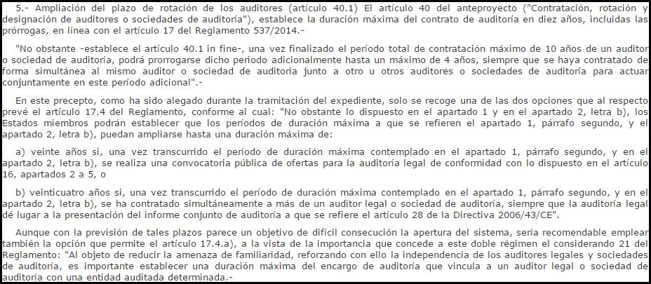 Extracto Dictamen 46/2015 Consejo Estado contratación rotación coauditoría