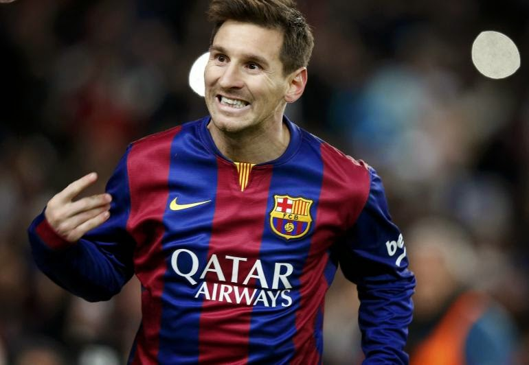 Barcelona's Lionel Messi celebrates scoring against Atletico
