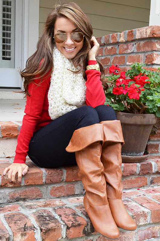 Gorgeous for fall with sweater shirt, scarf and long boots