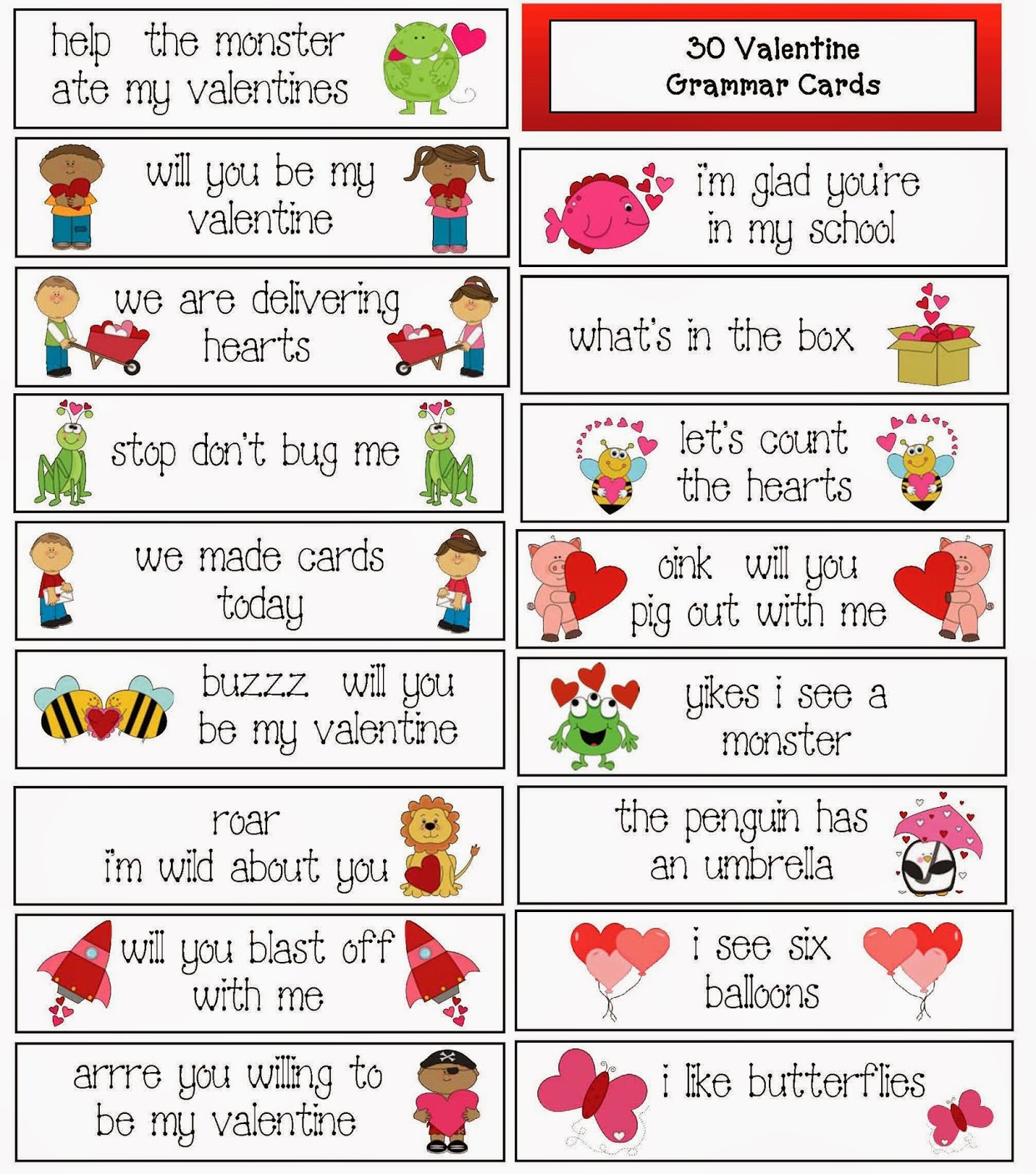 Classroom Freebies 30 ValentineThemed Grammar Cards – Valentine Cards for Students