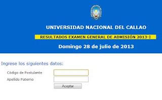 Resultados examen Universidad Nacional del Callao 2013 I 28 Julio
