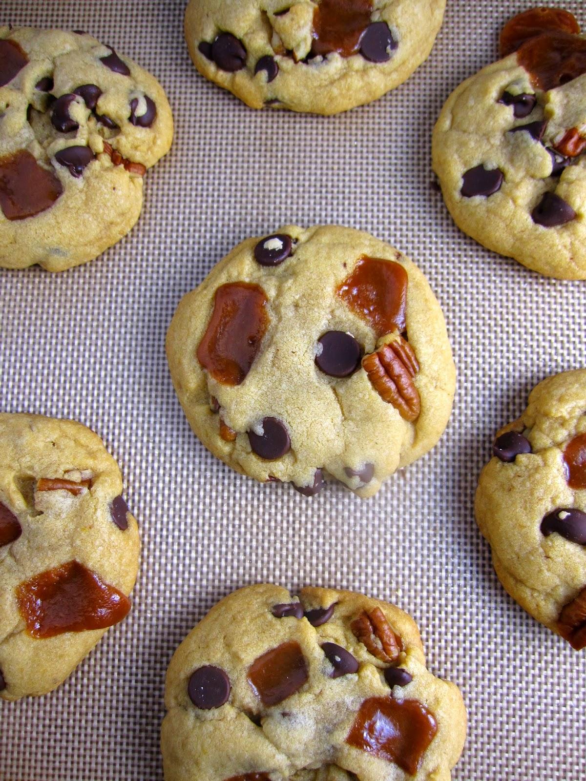 Chocolate, Caramel and Pecan Cookies