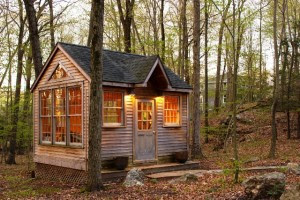 small cabin, tiny cottage in woods, living simpler, cottage cute, windows cottage
