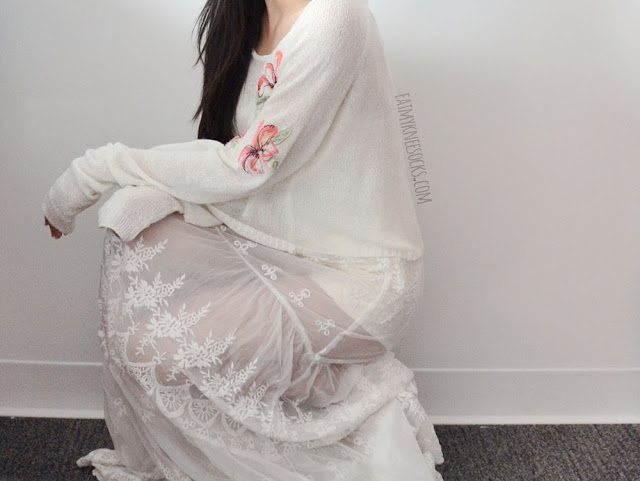 A ulzzang-inspired all-white look featuring SheIn's white sheer lace maxi slip dress, layered with a white Japanese Snidel floral sweater and high-waisted lace-up front shorts.
