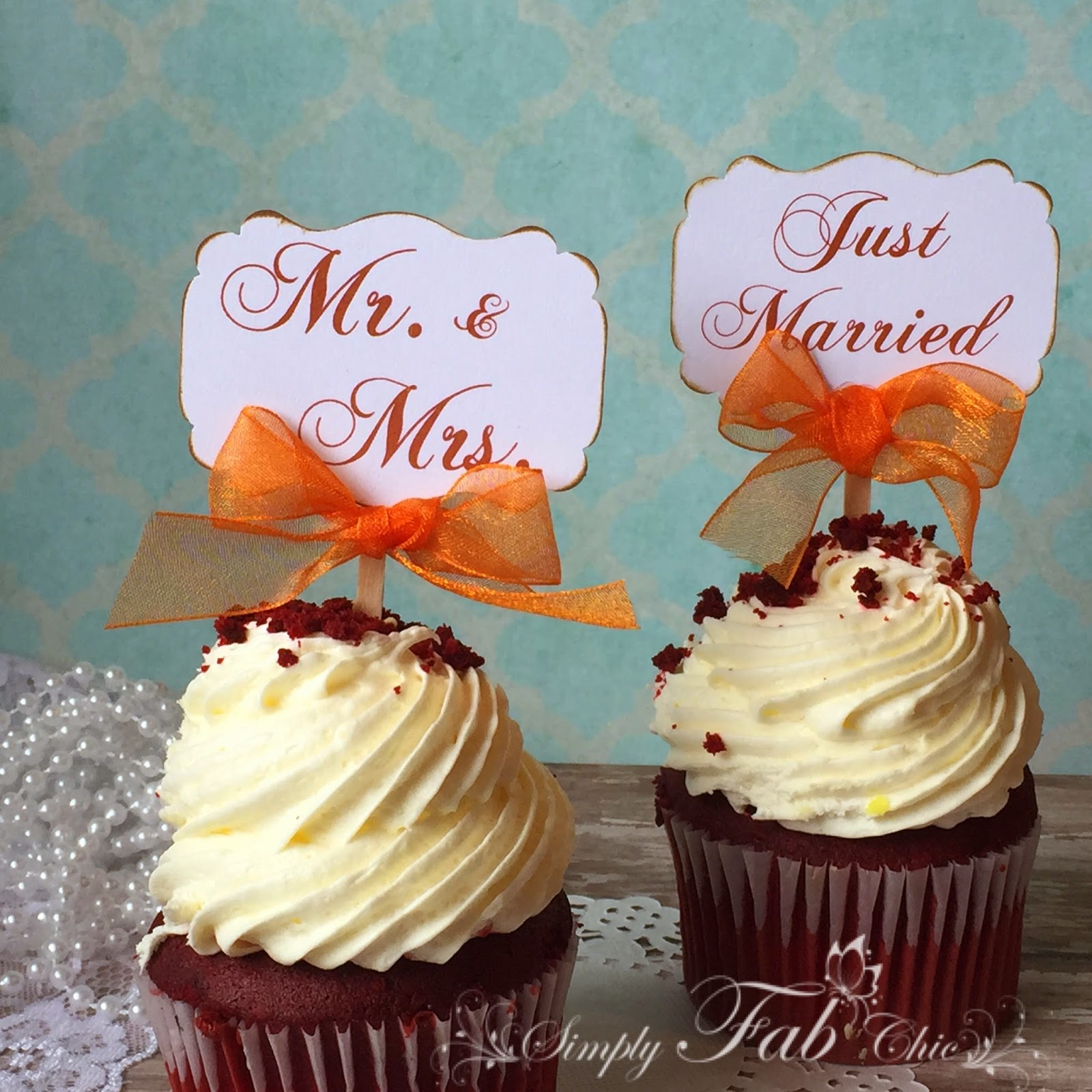 Shabby chic wedding cupcake toppers simply fab chic mr and mrs shabby chic vintage wedding cupcake toppers junglespirit Images