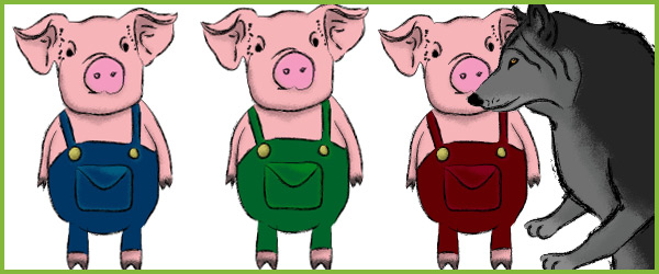 Ingl s para ni os three little pigs interactive story for The three little pigs puppet templates