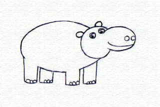 Menggambar Kuda Nil Mudah