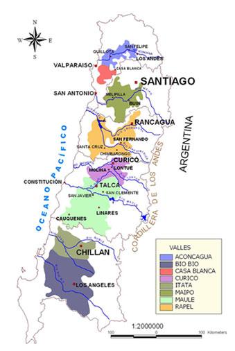 Regiões vinícolas do Chile creditos: http://www.trekkingchile.com/ES/vinias/vino-regiones.php