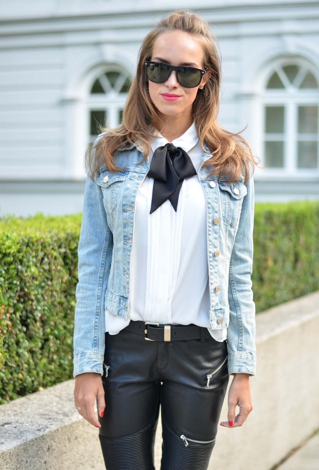 kristjaana mere black bow tie white shirt outfit
