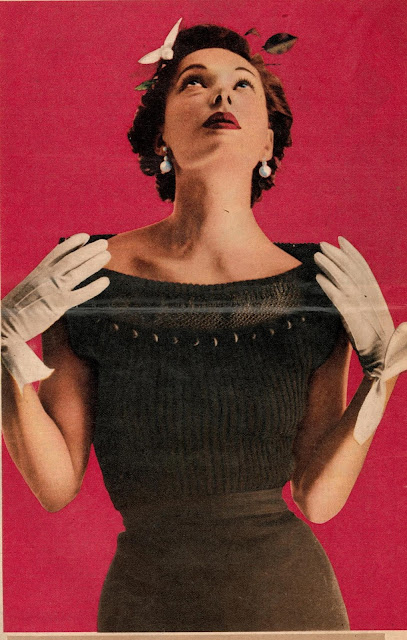 The Vintage Pattern Files - Free 1950's Knitting Pattern - Juana Boat Necked Sweater