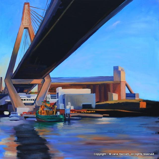 oil painting of Anzac Bridge by artist Jane Bennett