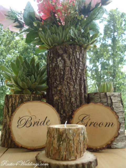 Rustic weddings bride and groom wood slice signs for
