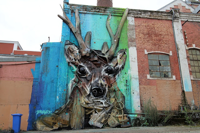 We continue our ongoing coverage of Nuart '15 with a brand new piece from our buddy Bordalo II which just spawned on the streets of Stavanger in Norway.