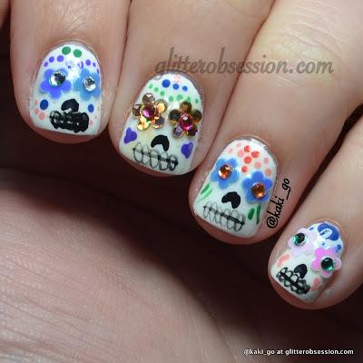 Halloween Nail Art, Sugar Skulls Nail Art
