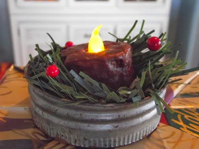 Make vintage canning jar lid tea light Christmas ornaments, by Country Mom At Home featured on http://www.ilovethatjunk.com/