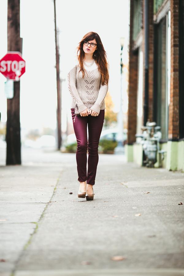 Revelrie Sweater, Oxblood skinny jeans