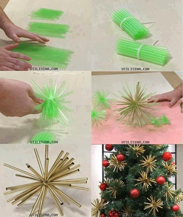 great idea for christmas with straws painted with spray paint jpg. Black Bedroom Furniture Sets. Home Design Ideas
