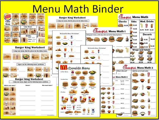 Printables Menu Math Worksheets menu math worksheet printable worksheets educational mcdonald s worksheet
