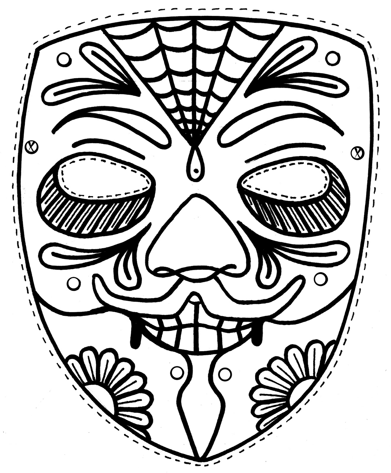 Yucca Flats N M Wenchkin S Coloring Pages Dia De Los Day Of The Dead Mask Coloring Pages