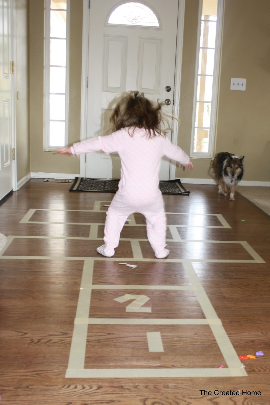 The created home indoor hopscotch for Fun at home projects