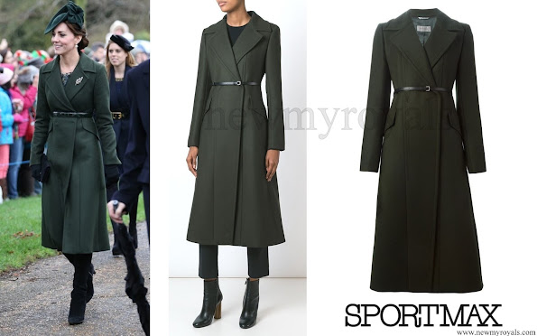Catherine, Duchess of Cambridge wore Sportsmax Long Belted Coat