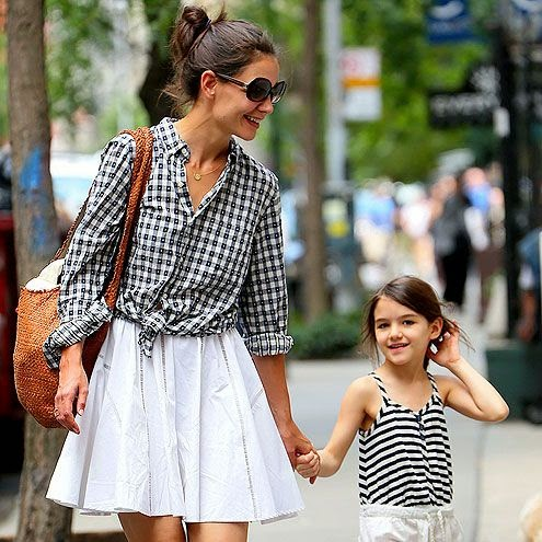 Katie Holmes (with Suri) in a stylish, knotted checkered shirt & white skirt - love this outfit!