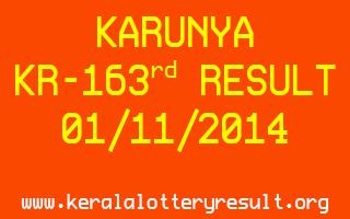 KARUNYA Lottery KR-163 Result 01-11-2014