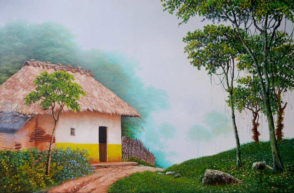 Im genes arte pinturas paisajes con casas del campo - Paisajes de casas ...