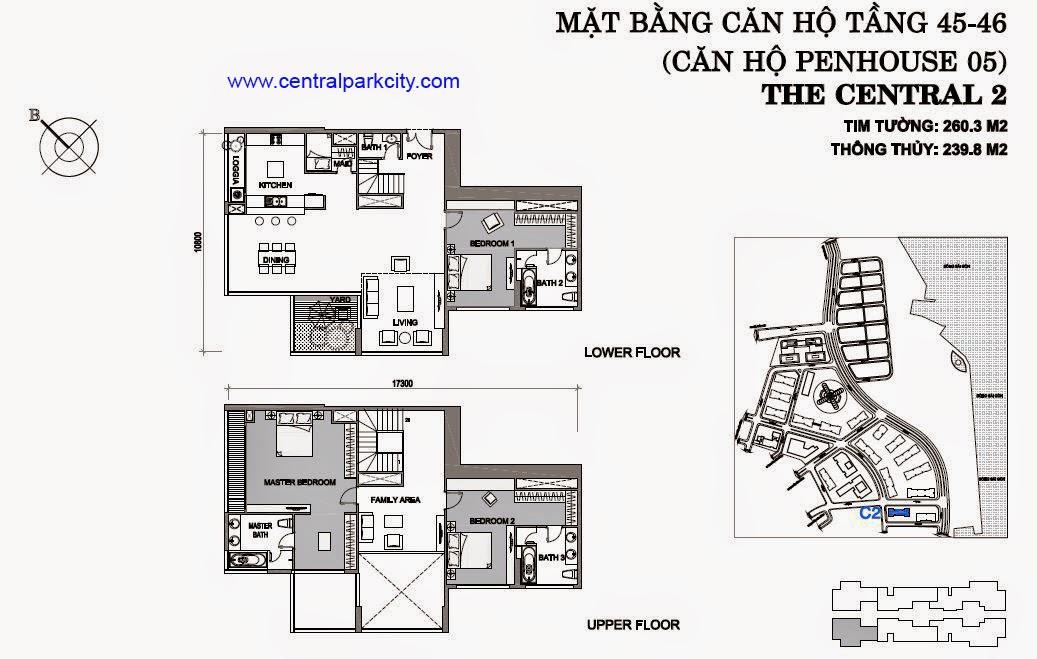 Vinhomes Central Park Penthouse - Căn số 05 tầng 45-46 - 3PN - 260.3m2
