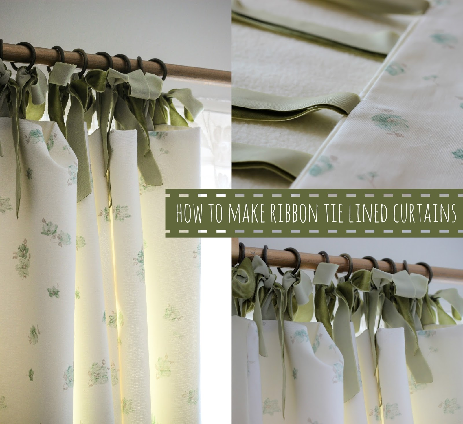 a handmade cottage how to make a lined curtain with ribbon ties. Black Bedroom Furniture Sets. Home Design Ideas