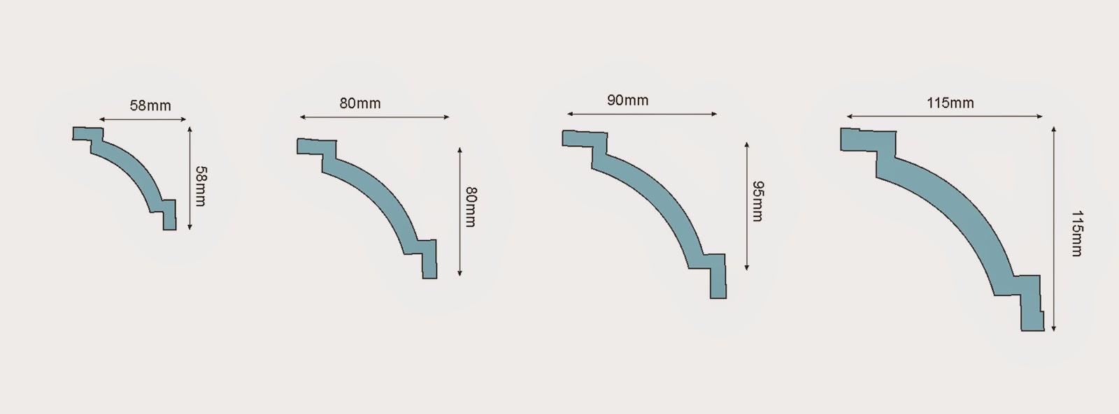 dimensiuni baghete polistiren pentru interior casa , profile decorative tavan