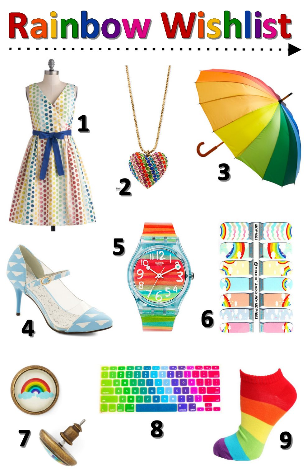 rainbow, fashion wishlist, blog wishlist, fashion blog, modcloth dress, modcloth shoes, cute wishlist, girl wishlist