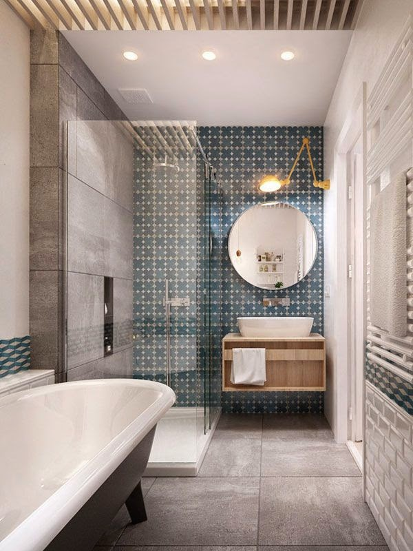 Aplique Jielde amarillo en el baño aseo