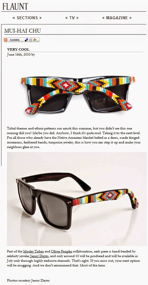 Flaunt magazine features beaded sunglasses by Jenny Dayco