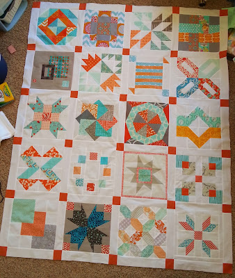 Orange and Aqua Bee Blocks Quilt top
