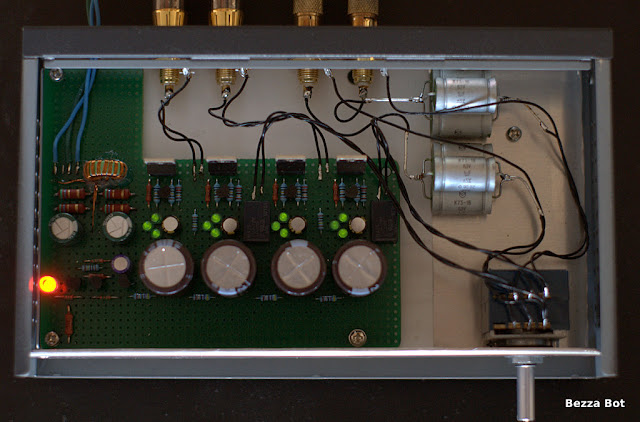 "HotFET Preamplifier prototype assembled in a ""networking"" case"