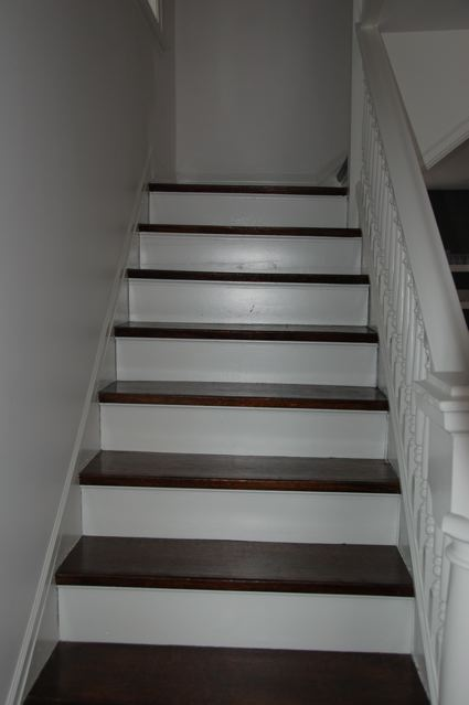And then she said blog blog blog the stairs a saga - Painting wooden stairs white ...