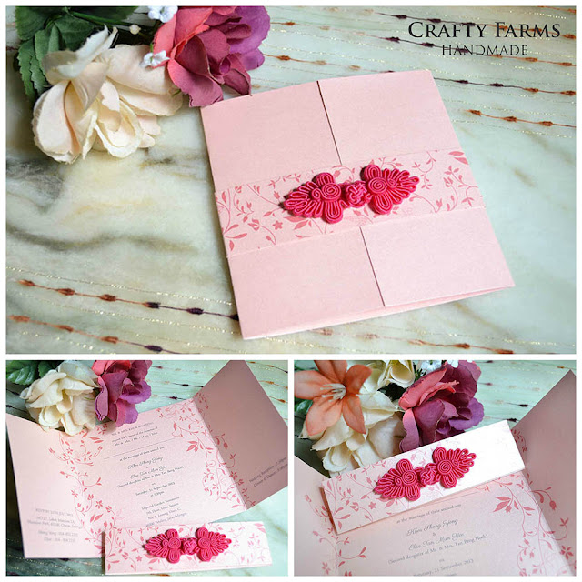 Floral Pink Chinese Knot Wedding Window-Fold Card Oriental Kuala Lumpur