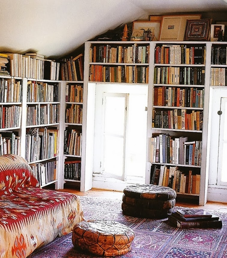 Cozy nook living room book wall