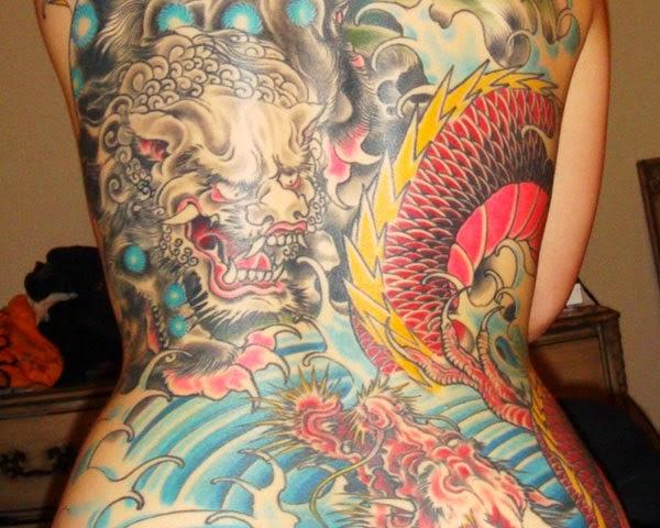Tatuaje de leon Fu tradicional chino