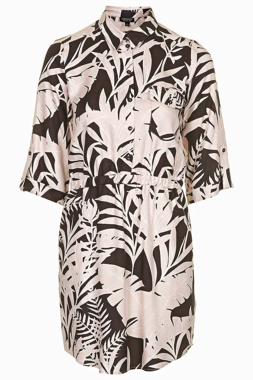 leaf print shirt dress, topshop leaf dress,