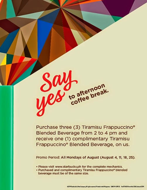 STARBUCKS PROMO AUGUST 2014 - Say Yes to afternoon coffee break