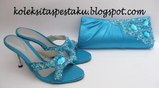 Set Matching Cocok Buat Hantaran Warna Biru Tosca Tas Sepatu Pesta