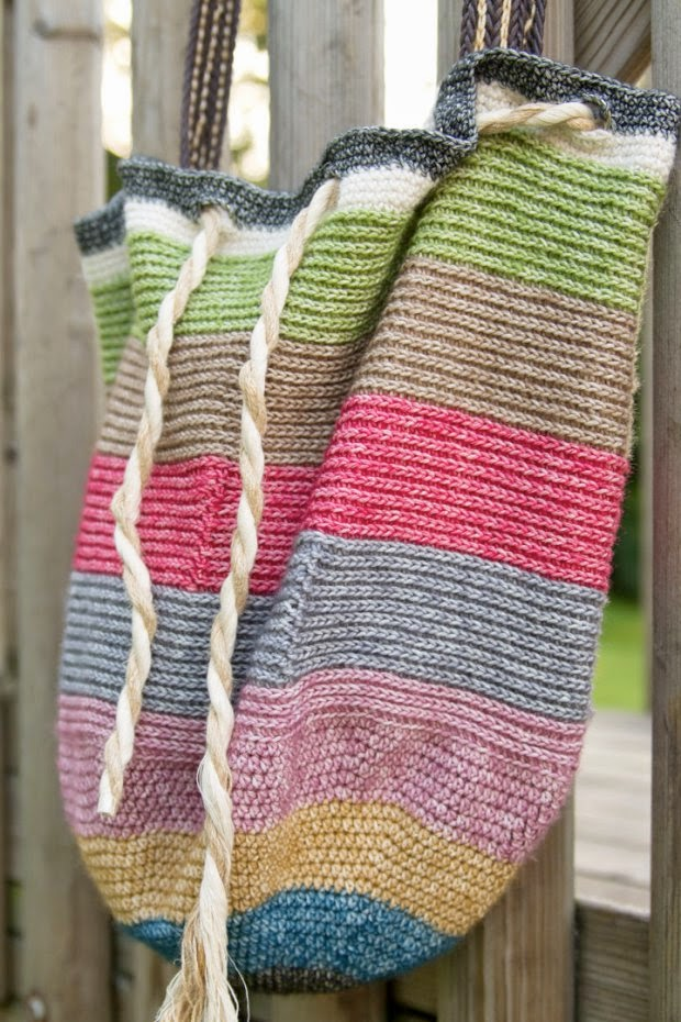 free crochet striped beach bag pattern