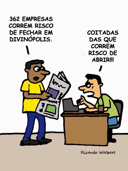 """Charge baseada em reportagem publicada pelo jornal """"Agora"""" sobre um levantamento que aponta o risco de fechamento de empresas em Divinópolis"""